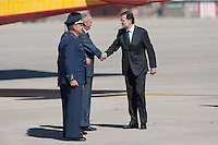 Prime Minister Mariano Rajoy arrives to the Torrejon de Ardoz military base