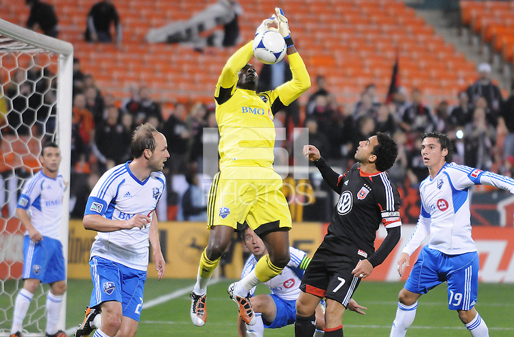 Montreal Impact goalkeeper Donovan Ricketts (1) goes up to make a save.  D.C. United tied The Montreal Impact 1-1, at RFK Stadium, Wednesday April 18 , 2012.