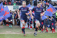 London Scottish players enter the field of play ahead of the Greene King IPA Championship match between London Scottish Football Club and Jersey at Richmond Athletic Ground, Richmond, United Kingdom on 18 February 2017. Photo by David Horn / PRiME Media Images.