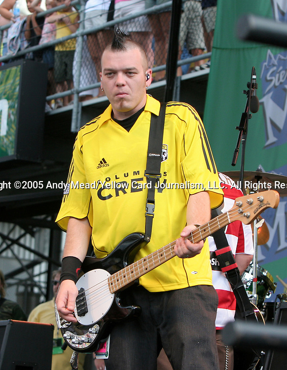 30 July 2005: Erik Chandler, bass player for the band Bowling For Soup, who played during half-time. Major League Soccer's All-Stars defeated Fulham FC of the English Premier League 4-1 at Columbus Crew Stadium in Columbus, Ohio in the 2005 Sierra Mist MLS All-Star Game.