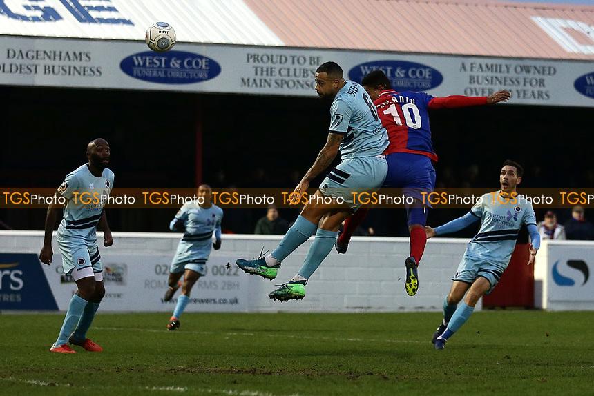 Angelo Balanta of Dagenham scores the third goal for his team during Dagenham & Redbridge vs Boreham Wood, Vanarama National League Football at the Chigwell Construction Stadium on 5th January 2019