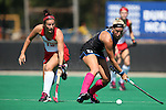 02 October 2016: Duke's Stephanie Pezzuti (right) and Boston's Sara Martineau (12). The Duke University Blue Devils hosted the Boston University Terriers at Jack Katz Stadium in Durham, North Carolina in a 2016 NCAA Division I Field Hockey match. Duke won the game 2-1.