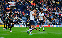 Preston North End's Josh Earl reacts after his shot went out for a corner<br /> <br /> Photographer Chris Vaughan/CameraSport<br /> <br /> The EFL Sky Bet Championship - Preston North End v Reading - Saturday 15th September 2018 - Deepdale - Preston<br /> <br /> World Copyright &copy; 2018 CameraSport. All rights reserved. 43 Linden Ave. Countesthorpe. Leicester. England. LE8 5PG - Tel: +44 (0) 116 277 4147 - admin@camerasport.com - www.camerasport.com
