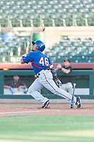 AZL Rangers right fielder Fernando Valdez (46) starts down the first base line during an Arizona League game against the AZL Giants Black at Scottsdale Stadium on August 4, 2018 in Scottsdale, Arizona. The AZL Giants Black defeated the AZL Rangers by a score of 3-2 in the first game of a doubleheader. (Zachary Lucy/Four Seam Images)