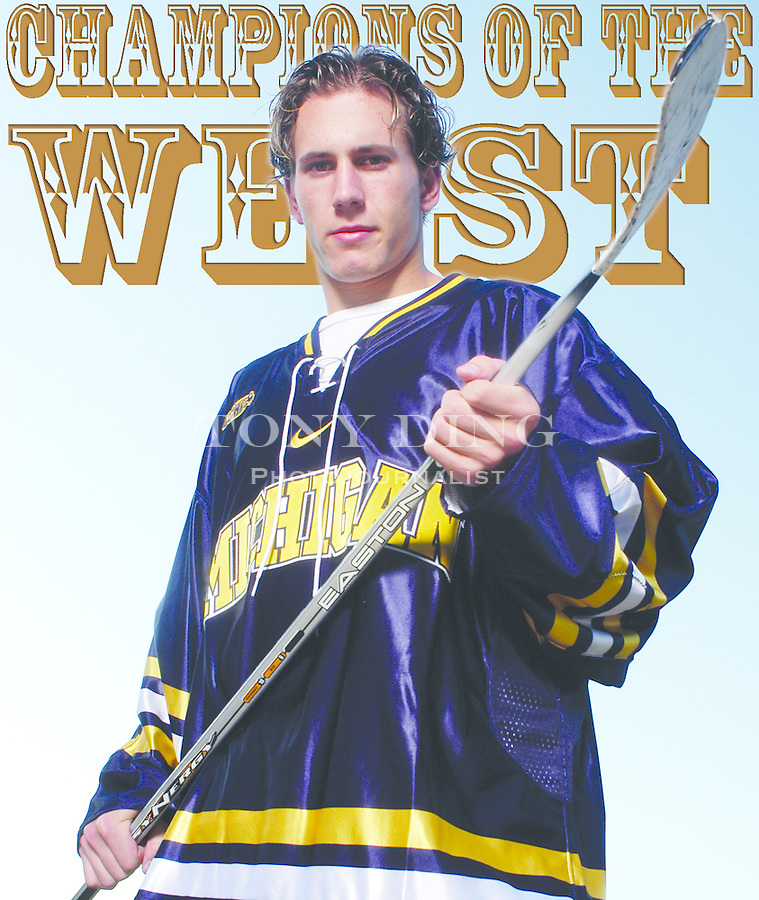 Michigan sophomore and hockey player Jeff Tambellini in front of Yost Ice Arena on Tuesday, October 7, 2003. (TONY DING/Daily)