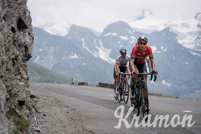 Dylan Theuns (BEL/Bahrein-Merida) up the Col de l'Iseran (HC/2751m/13km@7.3%) <br /> > where the race was eventually stopped (at the top) because of landslides further up the road (after a severe hail storm in Tignes)<br /> <br /> Stage 19: Saint-Jean-de-Maurienne to Tignes(126km)<br /> 106th Tour de France 2019 (2.UWT)<br /> <br /> ©kramon