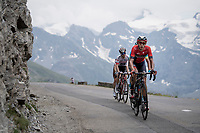 Dylan Theuns (BEL/Bahrein-Merida) up the Col de l'Iseran (HC/2751m/13km@7.3%) <br /> > where the race was eventually stopped (at the top) because of landslides further up the road (after a severe hail storm in Tignes)<br /> <br /> Stage 19: Saint-Jean-de-Maurienne to Tignes (126km)<br /> 106th Tour de France 2019 (2.UWT)<br /> <br /> ©kramon