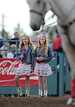 Ashtin Lopeman and Jennifer Peyton sing the National Anthem at the Reno Rodeo in Reno, Nev., on Friday, June 22, 2012..Photo by Cathleen Allison