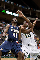 January 14, 2012:    East Tennessee State Buccaneers forward Isiah Brown (41) and Jacksonville Dolphins forward Shamile Jeffers (12) fight for rebound position during Atlantic Sun conference action between the Jacksonville University Dolphins and East Tennessee State University Buccaneers at Veterans Memorial Arena in Jacksonville, Florida.   East Tennessee State defeated Jacksonville 72-58.