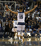 Nevada forward Trey Porter (15) reacts after a big shot against San Diego State in the first half of an NCAA college basketball game in Reno, Nev., Saturday, March 9, 2019. (AP Photo/Tom R. Smedes)