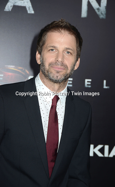 Director Zack Snyder  attends the World Premiere of &quot;Man of Steel&quot; on June 10, 2013 at Alice Tully Hall in New York. The movie stars <br /> Henry Cavill, Amy Adams, Michael Shannon, Kevin Costner, Laurence Fishburne, Anje Traue, Ayelet Zurer, Christopher Meloni, Russell Crowe, Dylan Sprayberry, Michael Kelly,  Cooper Timberline, Christina Wren and Rebecca Buller.