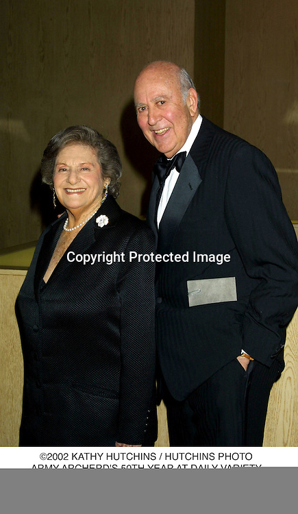 ©2002 KATHY HUTCHINS / HUTCHINS PHOTO.ARMY ARCHERD'S 50TH YEAR AT DAILY VARIETY.BEVERLY HILLS, CA 4/26/02.CARL & ESTELLE REINER