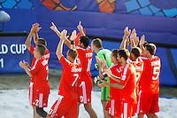 RAVENNA, ITALIA, 10 DE SETEMBRO DE 2011 - COPA DO MUNDO DE BEACH SOCCER - Jogadores da Russia comemora vitoria e classificao para final ao vencer a selecao de El Salvado no Mundial de Futebol de Areia, no Stadium Del Mare em Ravenna, na Italia, neste sabado (10). (FOTO: WILLIAM VOLCOV - NEWS FREE).