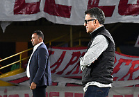 BOGOTA-COLOMBIA, 08-03-2020: Harold Rivera, tecnico de Independiente Santa Fe y Juan Carlos Osorio, tecnico de Atletico Nacional, durante partido de la fecha 8 entre Independiente Santa Fe y Atletico Nacional, por la Liga BetPLay DIMAYOR I 2020, en el estadio Nemesio Camacho El Campin de la ciudad de Bogota. / Harold Rivera, coach of Independiente Santa Fe and Juan Carlos Osorio, coach of Atletico Nacional, during a match of the 8th date between Independiente Santa Fe and Atletico Nacional, for the BetPlay DIMAYOR I Leguaje 2020 at the Nemesio Camacho El Campin Stadium in Bogota city. / Photo: VizzorImage / Luis Ramirez / Staff.