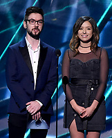 LOS ANGELES - DECEMBER 6: Presenters JackSepticEye and Pokimane appear onstage appears onstage at the 2018 Game Awards at the Microsoft Theater on December 6, 2018 in Los Angeles, California. (Photo by Frank Micelotta/PictureGroup)