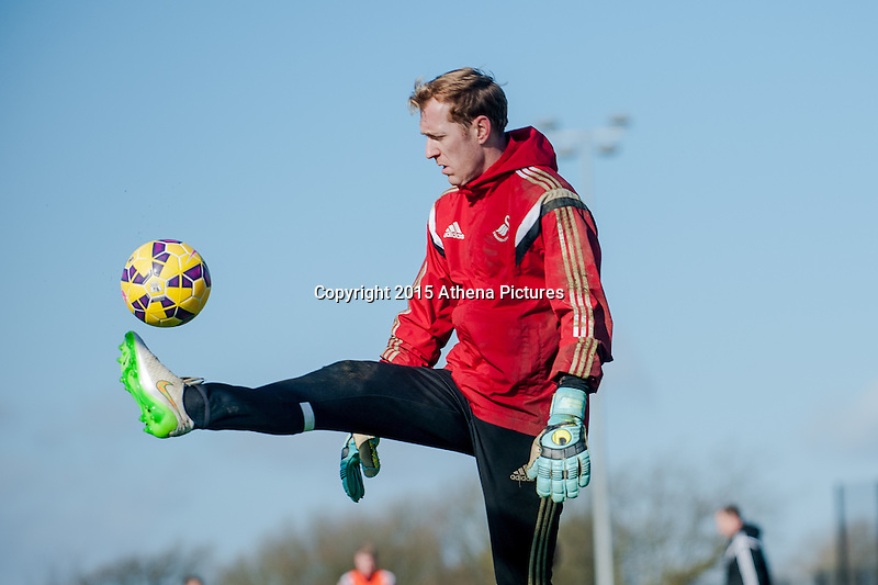SWANSEA, WALES - FEBRUARY 17:  Goal keeper Gerhard Tremmel   in action during a training session at the Fairwood training ground on February 17, 2015 in Swansea, Wales.  (Photo by Athena Pictures )