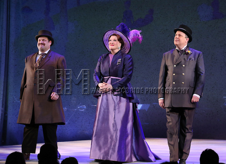 Jordan Gelber, Liz McCartney and Brooks Ashmanskas during the opening night performance curtain call bows for 'Sunday in the Park with George' at the Hudson Theatre on February 23, 2017 in New York City.