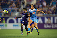 Orlando, FL - Saturday July 16, 2016: Jasmyne Spencer, Katie Naughton during a regular season National Women's Soccer League (NWSL) match between the Orlando Pride and the Chicago Red Stars at Camping World Stadium.