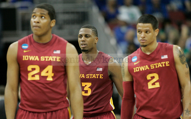 Iowa State's Percy Gibson (24), Melvin Ejim (3) and Chris Babb (2) walk off the court after the second half of the UK vs. Iowa State NCAA third round game at the KFC Yum! Center March 17, 2012. Photo by Brandon Goodwin | Staff
