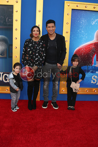 "Dominic Lopez, Courtney Laine Mazza, Mario Lopez, Francesca Lopez<br /> at the ""Sing"" Premiere, Microsoft Theater, Los Angeles, CA 12-03-16<br /> David Edwards/DailyCeleb.com 818-249-4998"