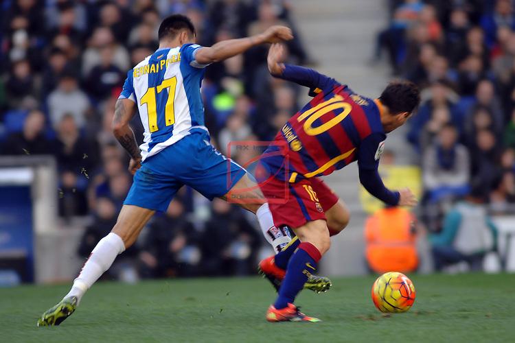 League BBVA 2015/2016 -Game: 18.<br /> RCD Espanyol vs FC Barcelona: 0-0.<br /> Hernan Perez vs Lionel Messi.