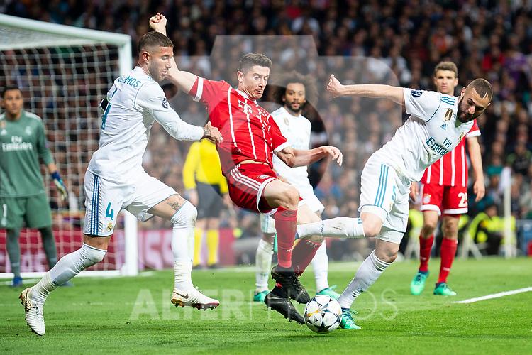 Real Madrid Sergio Ramos and Karim Benzema and Bayern Munich Thomas Muller during Semi Finals UEFA Champions League match between Real Madrid and Bayern Munich at Santiago Bernabeu Stadium in Madrid, Spain. May 01, 2018. (ALTERPHOTOS/Borja B.Hojas)