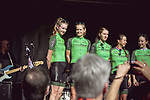 Waowdeals Pro Cycling Team at the Team presentation of La Fleche Wallonne Femmes 2018 running 118.5km from Huy to Huy, Belgium. 17/04/2018.<br /> Picture: ASO/Thomas Maheux | Cyclefile.<br /> <br /> All photos usage must carry mandatory copyright credit (&copy; Cyclefile | ASO/Thomas Maheux)