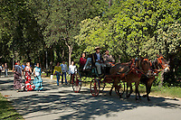 Women in flamenco dress and a barouche carriage in Maria Luisa Park during the Seville Spring Fair, Seville, Andalusia, Spain.