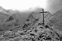 Cross on Alpspitze in Bavaria, Germany. Black and White conversion.