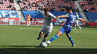 Leeds United's Helder Costa runs past Wigan Athletic's Antonee Robinson into the penalty area<br /> <br /> Photographer Stephen White/CameraSport<br /> <br /> The EFL Sky Bet Championship - Wigan Athletic v Leeds United - Saturday 17th August 2019 - DW Stadium - Wigan<br /> <br /> World Copyright © 2019 CameraSport. All rights reserved. 43 Linden Ave. Countesthorpe. Leicester. England. LE8 5PG - Tel: +44 (0) 116 277 4147 - admin@camerasport.com - www.camerasport.com
