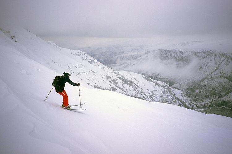 Ski descent of Mount Teksar (2898 m), Armenia, February 2014.