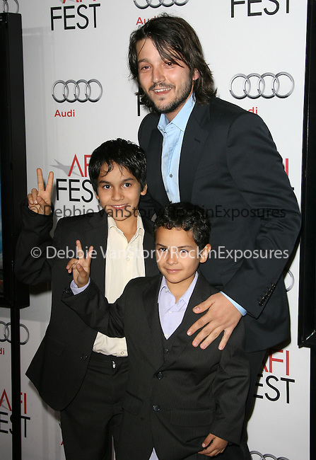 Diego Luna,Christopher Ruiz-Esparza and Gerardo Ruiz-Esparza attends the AFI Fest 2010 Centerpiece Gala Screening of Abel held at The Grauman's Chinese Theatre in Hollywood, California on November 07,2010                                                                               © 2010 Hollywood Press Agency