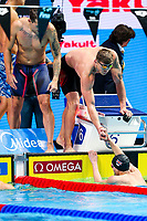 Picture by Rogan Thomson/SWpix.com - 30/07/2017 - Swimming - Fina World Championships 2017 -  Duna Arena, Budapest, Hungary -  Adam Peaty congratulates Duncan Scott as Great Britain win the Silver Medal in the Final of the Men's 4x100m Medlay Relay.