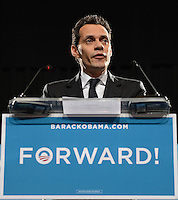 MIAMI FL - NOVEMBER 1 : Marc Anthony remarks at a Grassroots campaign event at The James L. Knight Center on November 1, 2012, in Miami Florida.  Credit: mpi04/MediaPunch Inc. .<br />