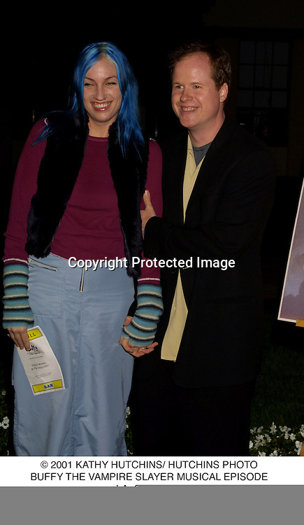 © 2001 KATHY HUTCHINS/ HUTCHINS PHOTO.BUFFY THE VAMPIRE SLAYER MUSICAL EPISODE.LA, CA 11/6/01.JOSS WEEDON & WIFE, KYA COLE