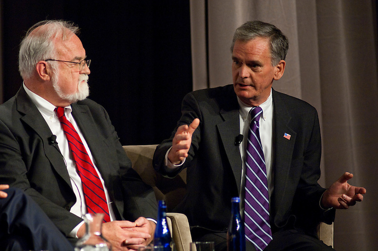 WASHINGTON, DC - April 28: John Rother, of the AARP; and Sen. Judd Gregg, R-N.H., and a member of the National Commission on Fiscal Responsibility and Reform; during a panel discussion on health care at the 2010 Fiscal Summit sponsored by the Peter G. Peterson Foundation. (Photo by Scott J. Ferrell/Congressional Quarterly)