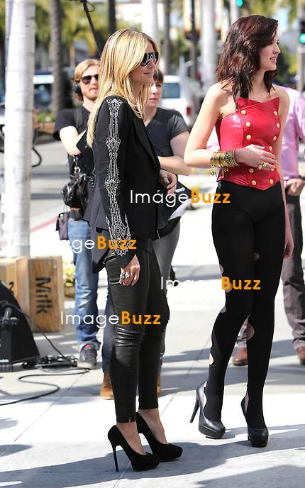 HEIDI KLUM - Model Heidi Klum films her reality show 'Germany's Next Top Model' in Beverly Hills, California on February 12, 2013.