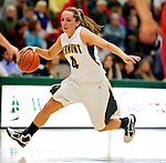 13 December 2009: University of Vermont Catamounts' guard May Kotsopoulos, a Senior from Waterloo, Ontario, in action against the Oklahoma State University Cowgirls at Patrick Gymnasium in Burlington, Vermont. The Lady Cats were unable to hold onto a second half lead, falling to the Cowgirls 68-63. Mandatory Credit: Ed Wolfstein Photo