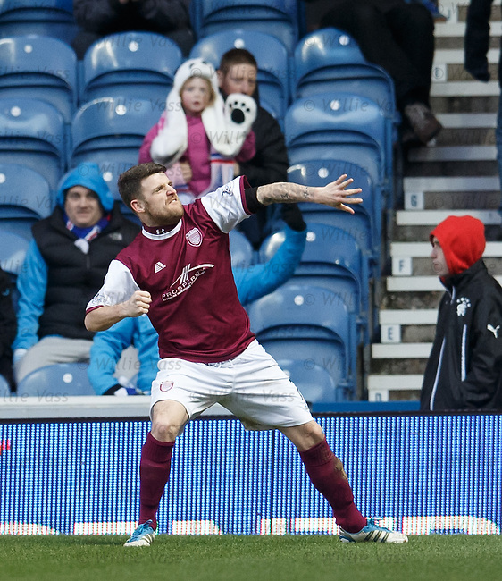 Bobby Linn celebrates his goal for Arbroath