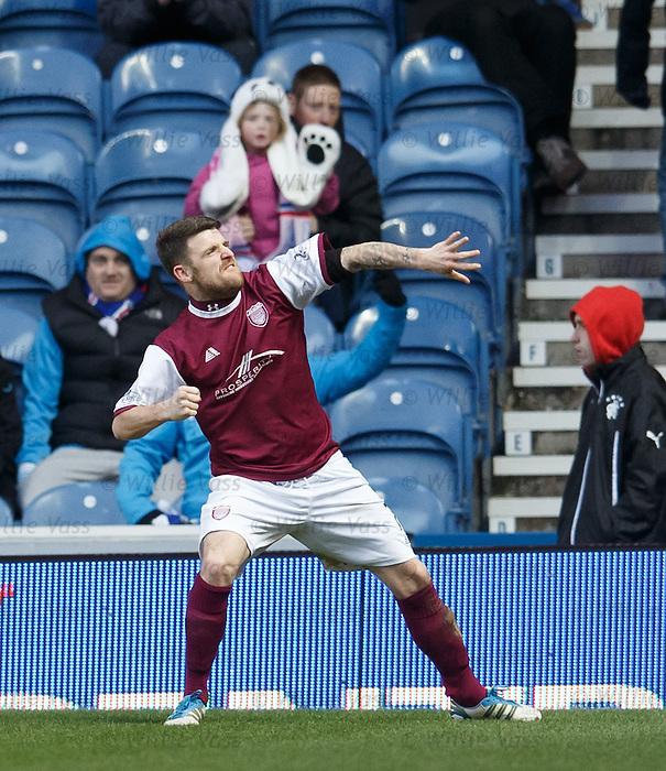 Bobby Linn celebrates his goal for Arbroath