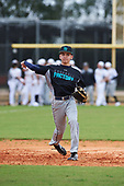 Xavier Perez (12) of Corpus Christi, Texas during the Baseball Factory All-America Pre-Season Rookie Tournament, powered by Under Armour, on January 13, 2018 at Lake Myrtle Sports Complex in Auburndale, Florida.  (Michael Johnson/Four Seam Images)
