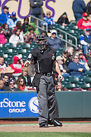 Home plate umpire Ryan Goodman behind the plate as the Omaha Storm Chasers faced the Memphis Redbirds in Pacific Coast League action at Werner Park on April 22, 2015 in Papillion, Nebraska.  (Stephen Smith/Four Seam Images)