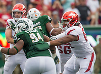 NWA Democrat-Gazette/BEN GOFF @NWABENGOFF<br /> Johnny Gibson, Jr., Arkansas right guard, blocks Colorado State nose tackle Devin Phillips in the 1st quarter Saturday, Sept. 8, 2018, at Canvas Stadium in Fort Collins, Colo.