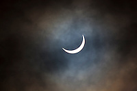 09.34 March 2015 Solar eclipse, partial eclipse of the sun, rare natural phenomenon seen from Burford, The Cotswolds, England UK
