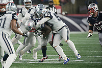 FOXBOROUGH, MA - NOVEMBER 24: Dallas Cowboys Linebacker Jaylon Smith #54 and Dallas Cowboys Linebacker Sean Lee #50 in support tackle New England Patriots Runningback Sony Michel #26 during a game between Dallas Cowboys and New England Patriots at Gillettes on November 24, 2019 in Foxborough, Massachusetts.