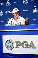 Brooks Koepka (USA) is interviewed during presser during Wednesday's preview of the PGA Championship at the Quail Hollow Club in Charlotte, North Carolina. 8/9/2017.<br /> Picture: Golffile | Ken Murray<br /> <br /> <br /> All photo usage must carry mandatory copyright credit (&copy; Golffile | Ken Murray)
