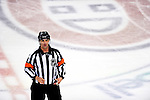 31 March 2010: NHL referee Dean Morton announces the results of a video-reviewed goal in the second period by the Carolina Hurricanes on the Montreal Canadiens at the Bell Centre in Montreal, Quebec, Canada. The Hurricanes defeated the Canadiens 2-1 in their last meeting of the regular season. Mandatory Credit: Ed Wolfstein Photo
