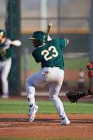 AZL Athletics Green Jorge Romero (23) at bat during an Arizona League game against the AZL Reds on July 21, 2019 at the Cincinnati Reds Spring Training Complex in Goodyear, Arizona. The AZL Reds defeated the AZL Athletics Green 8-6. (Zachary Lucy/Four Seam Images)