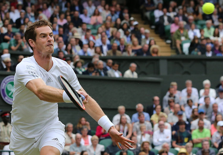 Andy Murray (GBR) [3] in action playing against Kevin Anderson (RSA) [20] in their Gentlemen's Singles Fourth Round match today<br /> <br /> Photographer Kieran Galvin/CameraSport<br /> <br /> Tennis - Wimbledon Lawn Tennis Championships - Day 7 Monday 30th June 2014 -  All England Lawn Tennis and Croquet Club - Wimbledon - London - England<br /> <br /> &copy; CameraSport - 43 Linden Ave. Countesthorpe. Leicester. England. LE8 5PG - Tel: +44 (0) 116 277 4147 - admin@camerasport.com - www.camerasport.com.