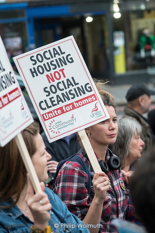 Social Housing Not Social Cleansing. Residents of Cressingham Gardens Estate in Brixton, London, demonstrate outside Lambeth Town Hall over council plans to demolish their homes and build new housing which they believe will be unaffordable for existing tenants.
